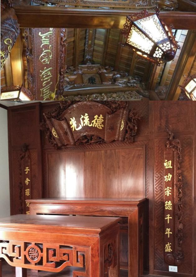 Nhà gỗ trang trí đục chạm tinh xảo cầu kỳ