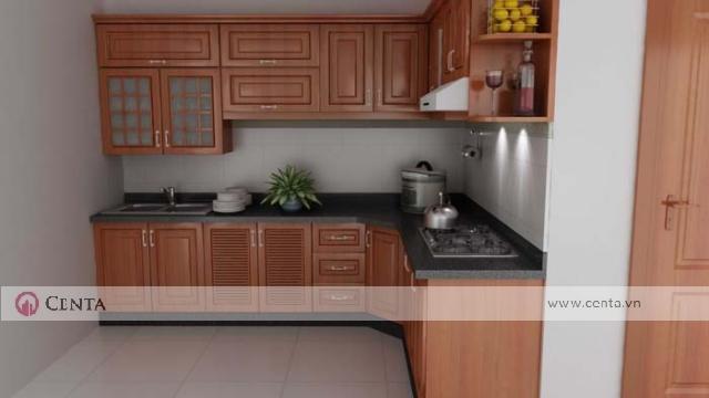 Tủ bếp gỗ hương đỏ, tủ bếp trên và bếp dưới có mặt đá kim sa đen