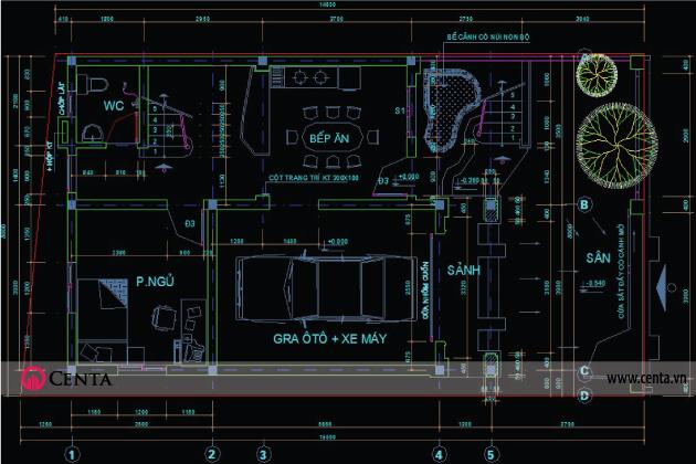 Bản vẽ CAD mặt bằng nội thất tầng 1 nhà phố đẹp