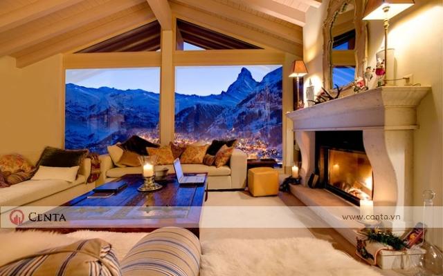 ngôi nhà gác mái nhìn ra núi đẹp