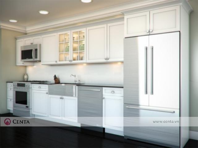 Tủ bếp màu trắng ô tủ lạnh cánh laminate acrylic