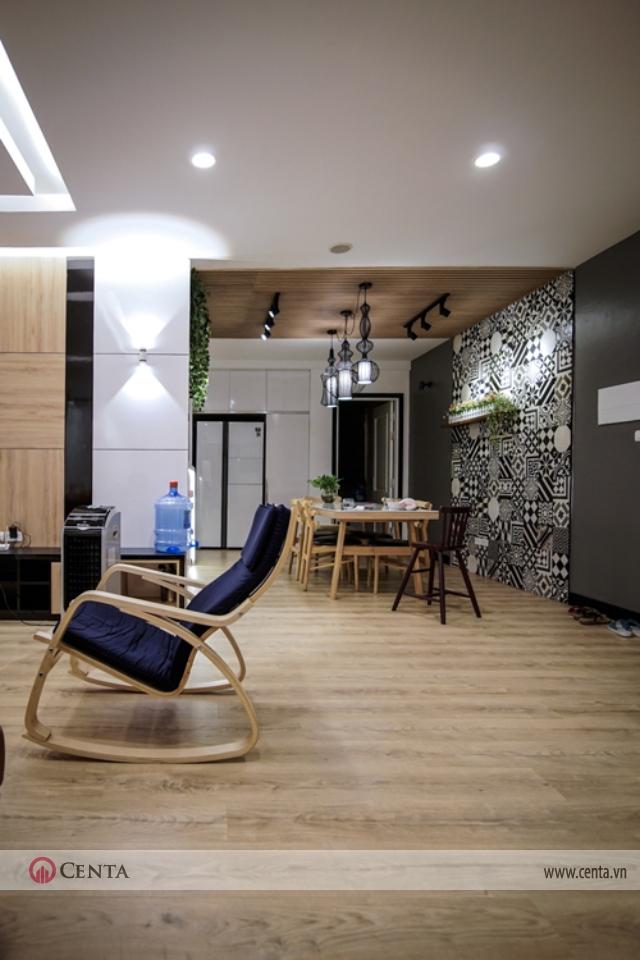 Không gian liên thông căn hộ đẹp với phòng khách và phòng bếp sau cải tạo