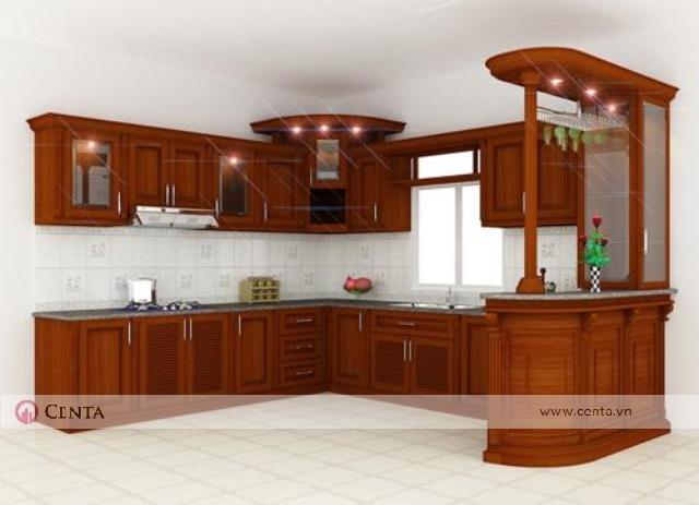 Thiết kế tủ bếp gỗ đẹp có đảo bếp quầy bar, ô cửa sổ cho bếp gỗ hương