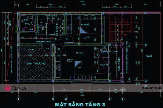 Bản vẽ CAD mặt bằng nội thất tầng 3 nhà đẹp