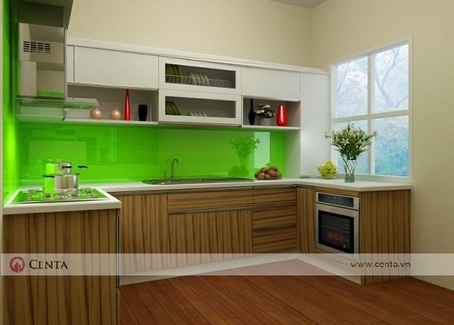 tủ bếp an cường vân gỗ acrylic xanh lá mạ