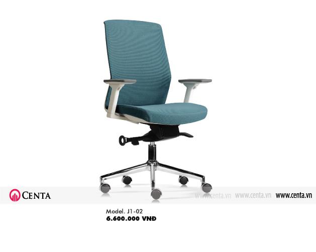 Ghế văn phòng ghế xoay màu xanh chân sắt có bánh xe