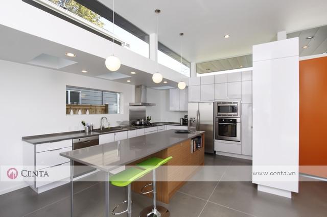 tủ bếp gỗ an cường màu trắng bàn đảo hiện đại