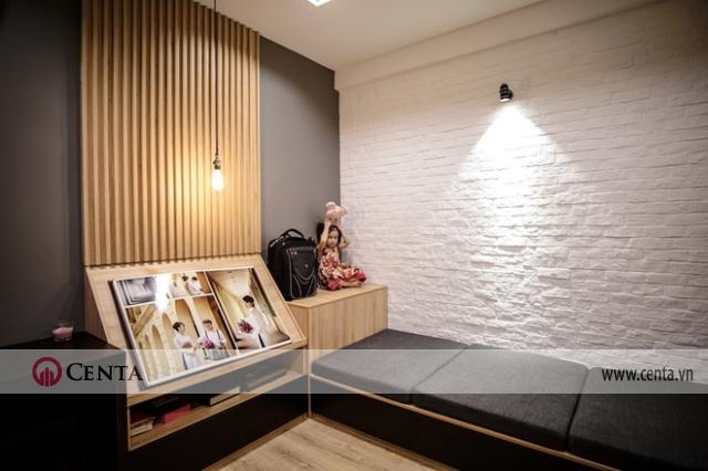 Cải tạo không gian có giường ngủ và tường gạch sơn trắng căn hộ 120m2