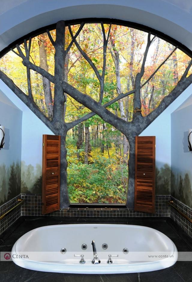Phòng vệ sinh nhìn ra khu vườn đẹp