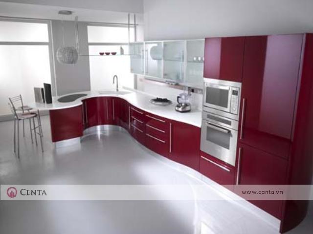 tủ bếp an cường màu đỏ đun lò vi sóng nhà bếp đẹp