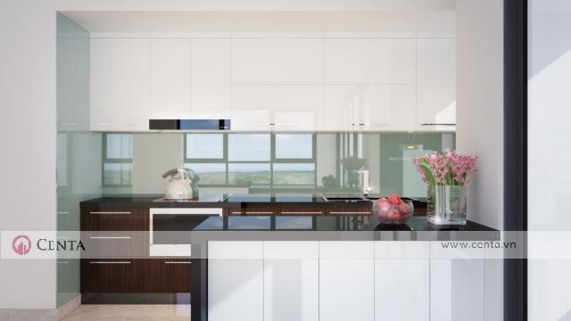 mẫu thiết kế tủ bếp acrylic an cường màu trắng có đảo bếp