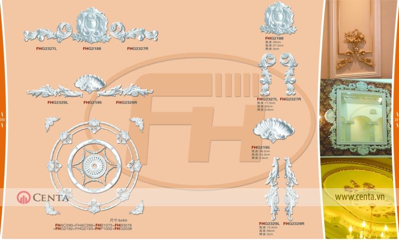 Hoa văn phào trang trí pu khá đa dạng cho nội thất tân cổ điển