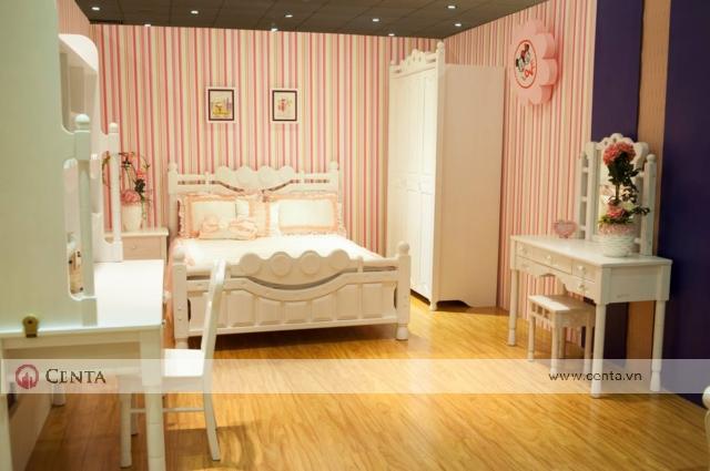 phòng ngủ nhập khẩu cho bé gái phong cách tân cổ điển