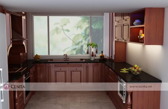 Mẫu tủ bếp gỗ hương hình chữ U gần cửa sổ. Thiết kế tủ bếp đẹp