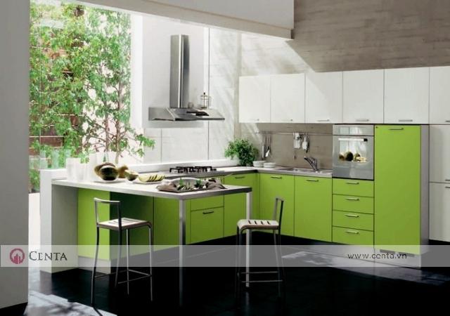 bếp phòng bếp gỗ công nghiệp an cường mfc màu xanh lá mạ