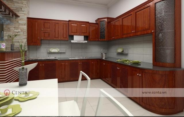 Thiết kế tủ bếp nhà phố gỗ hương Nam phi cánh chớp thoáng khi cho bếp