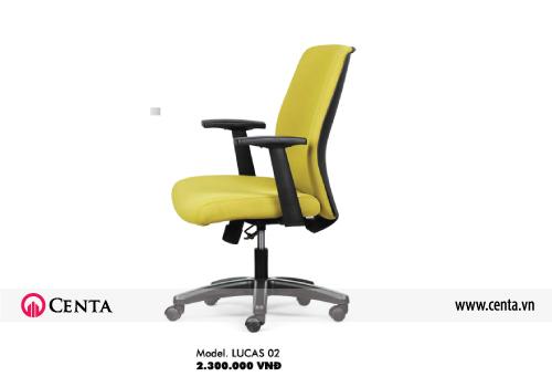Ghế văn phòng đẹp màu vàng đen tựa lưng nỉ chân nhựa
