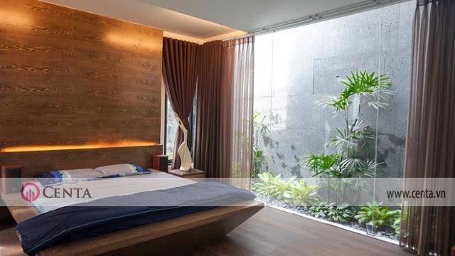 Biệt thự nhà vườn phòng ngủ nhìn ra cây xanh tiểu cảnh đẹp