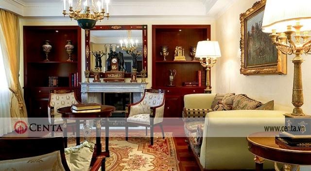 Ghế thư giãn đọc sách ngồi nghỉ ngơi trong phòng phong cách tân cổ điển