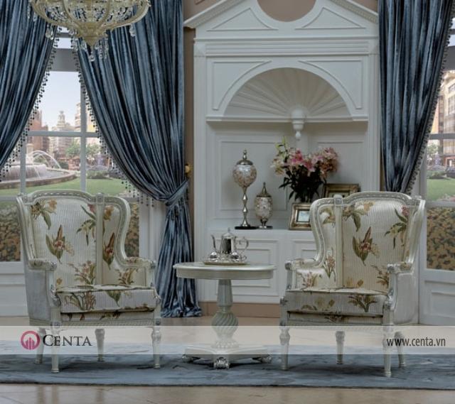 Mẫu bàn ghế thư giãn phòng sinh hoạt chung và tủ tân cổ điển có rèm đẹp