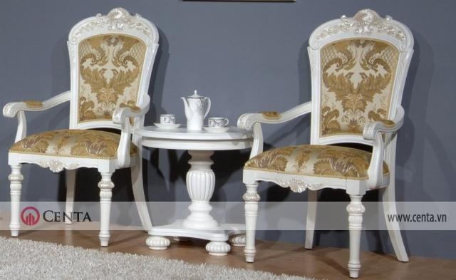 Bộ bàn 2 ghế uống trà tân cổ điển màu trắng hoa văn đẹp kê sát tường