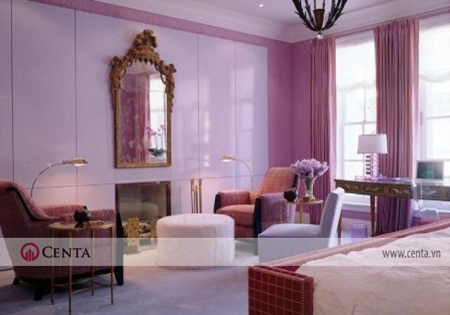 phòng thư giãn không gian sinh hoạt chung màu tím