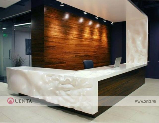 Quầy lễ tân sử dụng cho thiết kế văn phòng