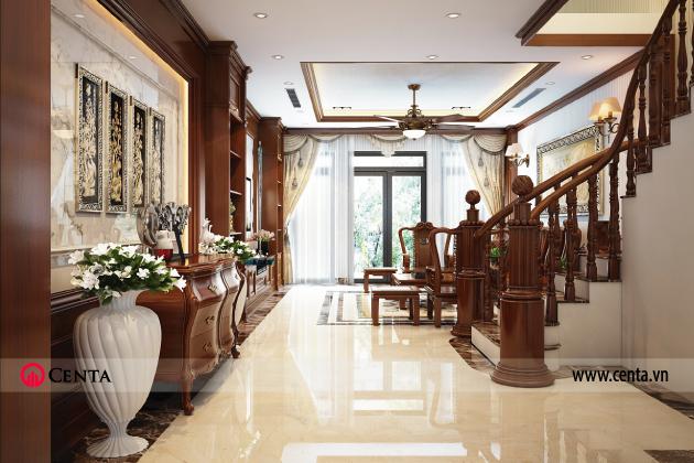 Thiết kế nội thất phòng khách nhà phố Á Đông