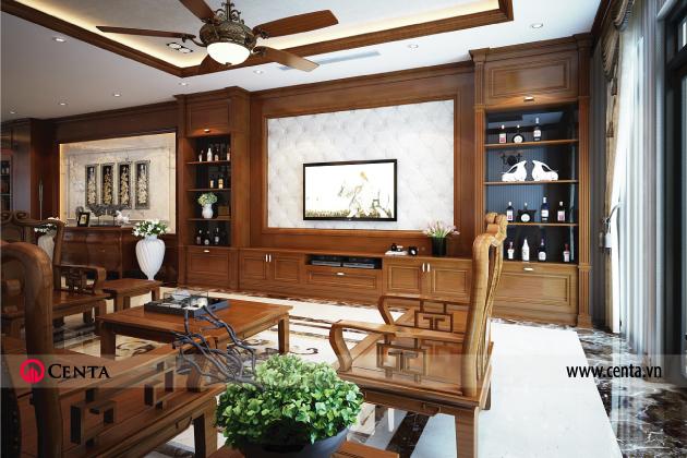 Thiết kế nội thất nhà phố phong cách á đông sử dụng gỗ tự nhiên