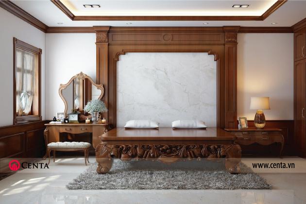 Thiết kế phòng ngủ master phong cách Á Đông