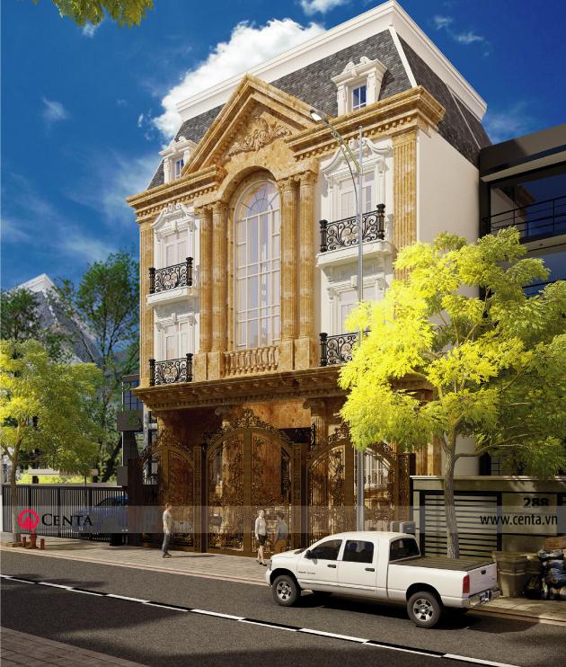Thiết kế Biệt thự 4 tầng, Biệt thự đẹp, biệt thự Tân cổ điển, Biệt thự pháp, mẫu biệt thự đẹp