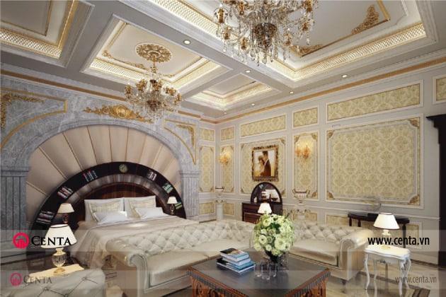 ốp đá đầu giường, trần thạch cao đèn chùm giường tân cổ điển sofa