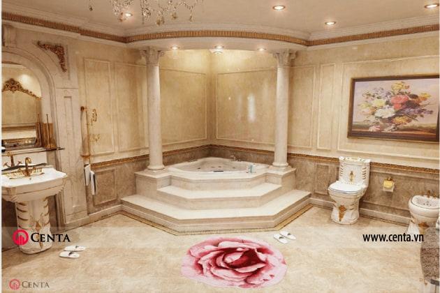phòng tắm master ốp đa màu be cột đá lavabo gương khung tranh toilet