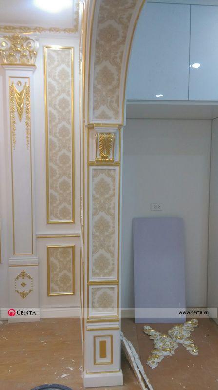 Thi công phào chỉ vòm cửa giấy dán tường hoa văn tân cổ điển