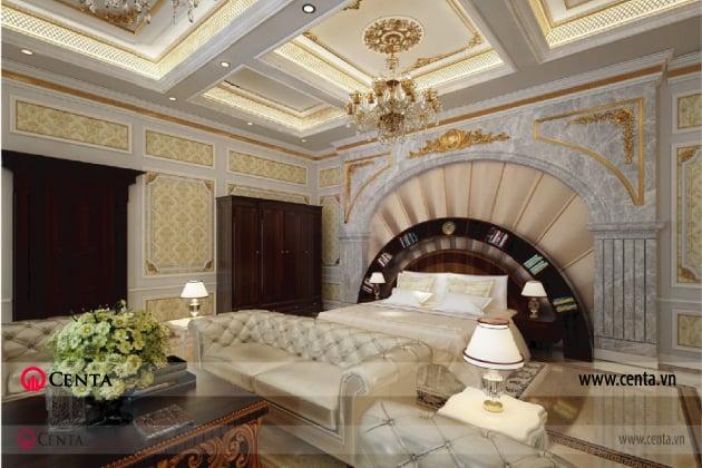 phối cảnh thiết kế phòng ngủ master biệt thự phào chỉ trần thạch cao