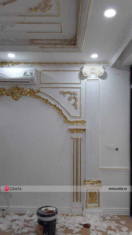 phào cột dát vàng, phào khung tranh phào chỉ pu hoa văn tân cổ điển