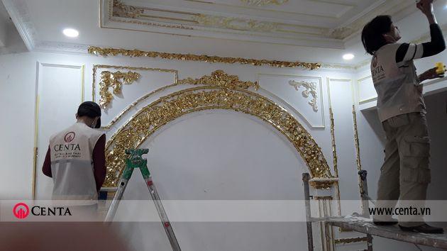 Thi công dát vàng phào chỉ pu biệt thự tân cổ điển