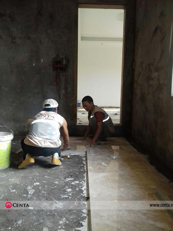 thi công nội thất đẹp ốp lát nền đá biệt thự tam đảo