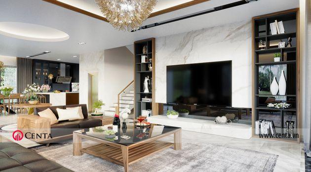 bất động sản vinhomes ocean park thiết kế nội thất phòng khách gỗ óc chó