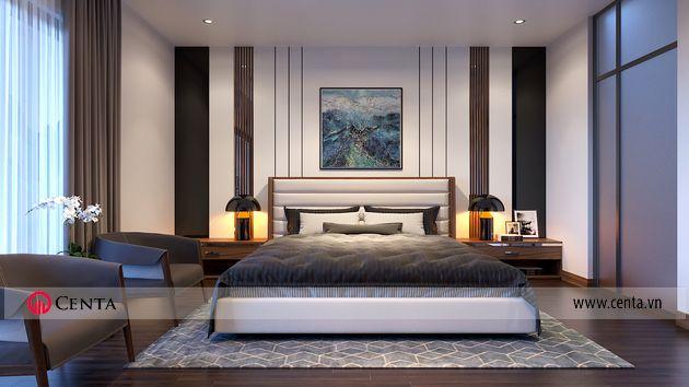 Thiết kế phòng ngủ gốc óc chó hiện đại biệt thự Vinhomes VHOP