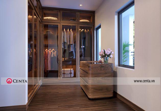 Thiết kế phòng thay đồ phòng ngủ master gỗ óc cho Hải Âu Vinhomes VHOP