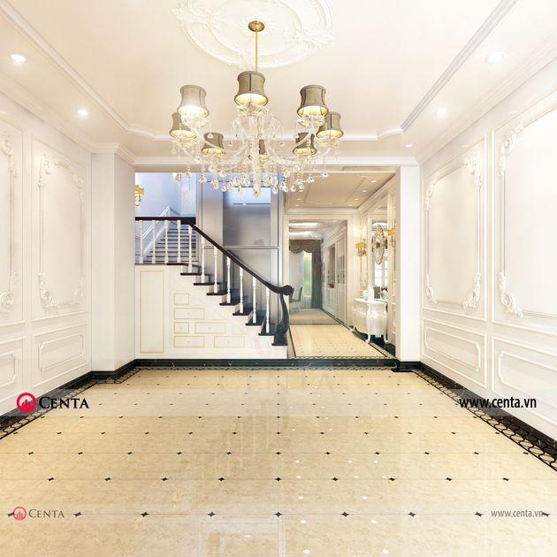 Thiết kế sảnh gara ô tô tầng 1 Thiết kế nhà liền kề Louis