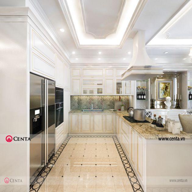 Thiết kế ốp lát hoa văn tân cổ điển gạch lát sàn tầng 1 phòng bếp đẹp