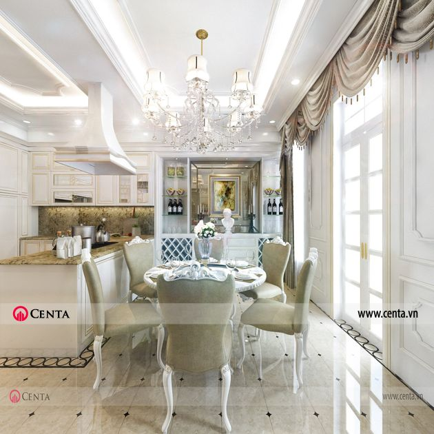 Thiết kế phòng ăn bếp ăn tân cổ điển Thiết kế nhà liền kề Louis