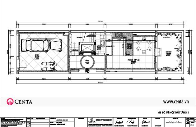 Thiết kế nhà liền kề Louis City Đại Mỗ mặt bằng nội thất tầng 1