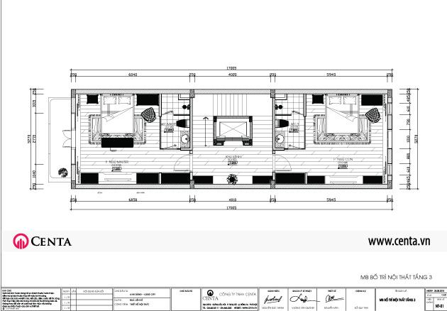 Mặt bằng thiets kế nội thất tầng 2 nhà liền kề Louis City Đại mỗ