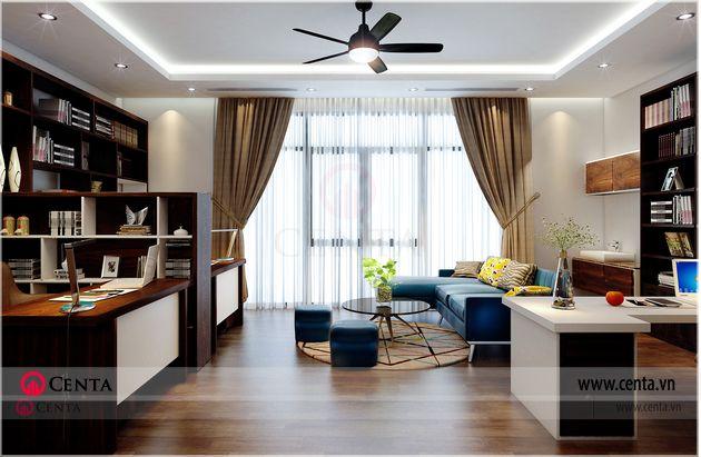 Thiết kế nội thất phòng làm việc biệt thự