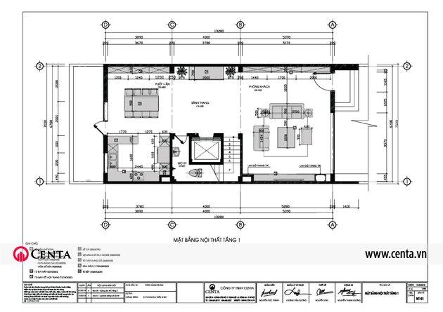 bố trí nội thất tầng 1 biệt thự