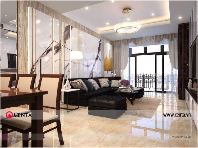 Phong khach bep Thiet ke noi that hien dai nha anh Loc chung cu Sun Grand City 2 Thiết kế nội thất chung cư 120m2