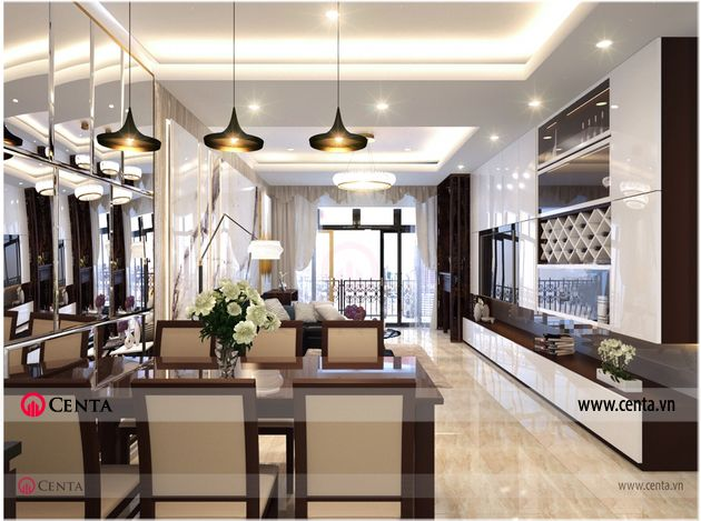 Phong khach bep Thiet ke noi that hien dai nha anh Loc chung cu Sun Grand City 3 Thiết kế nội thất chung cư 120m2